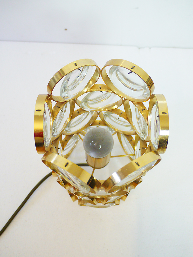 Small Gold Plated TABLE LAMP With Crystal Glass By PALWA